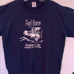 NWOT Red Baron restaurant & lounge blue tee
